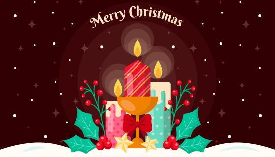 圣诞蜡烛设计的圣诞节背景矢量素材(AI/EPS)