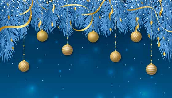 蓝色树枝金色圣诞球圣诞节背景矢量素材(AI/EPS)