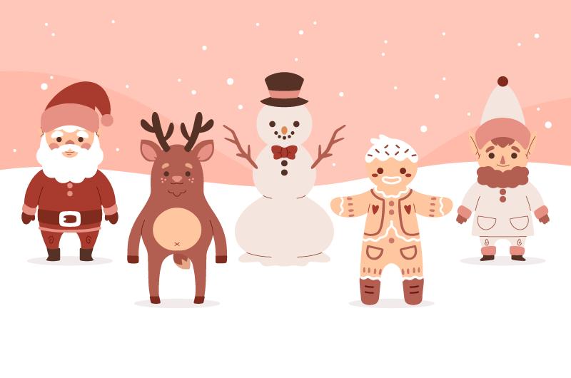 五个可爱的圣诞人物矢量素材(AI/EPS)
