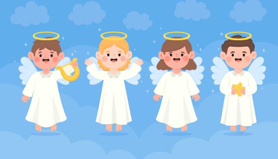 四位可爱的圣诞天使矢量素材(AI/EPS)