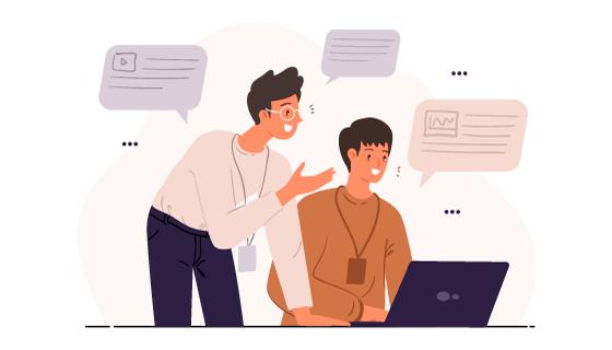 对着电脑讨论工作的人物插画矢量素材(AI/EPS)