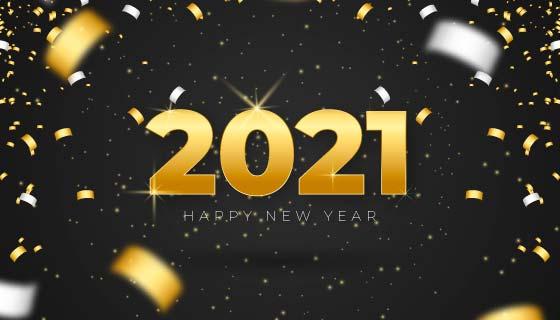 金色纸屑设计2021新年快乐矢量素材(AI/EPS)