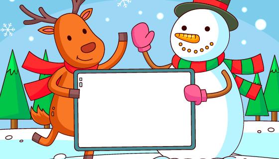 圣诞雪人和麋鹿手持白板矢量素材(AI/EPS)