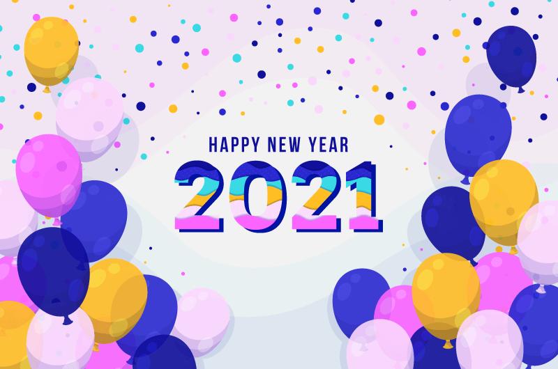 多彩气球设计2021新年快乐矢量素材(AI/EPS)