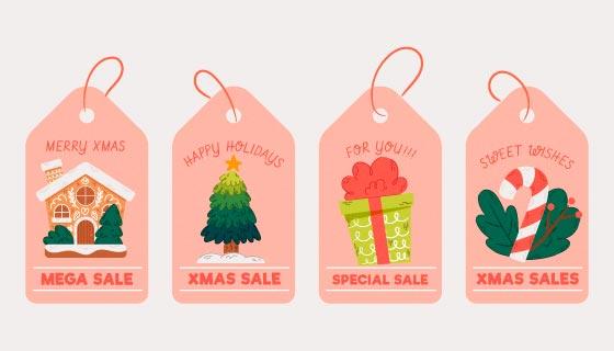 四个橘红色圣诞销售标签矢量素材(AI/EPS/PNG)