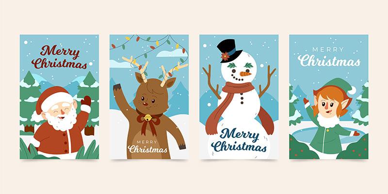 四张扁平风格圣诞节贺卡矢量素材(AI/EPS)