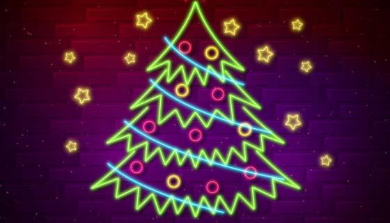可爱的霓虹灯圣诞树矢量素材(AI/EPS)
