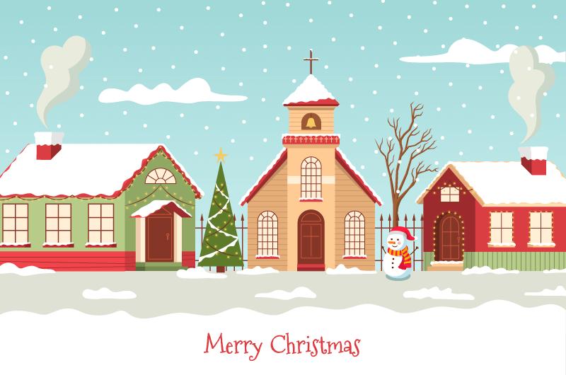 漂亮的圣诞小镇矢量素材(AI/EPS)