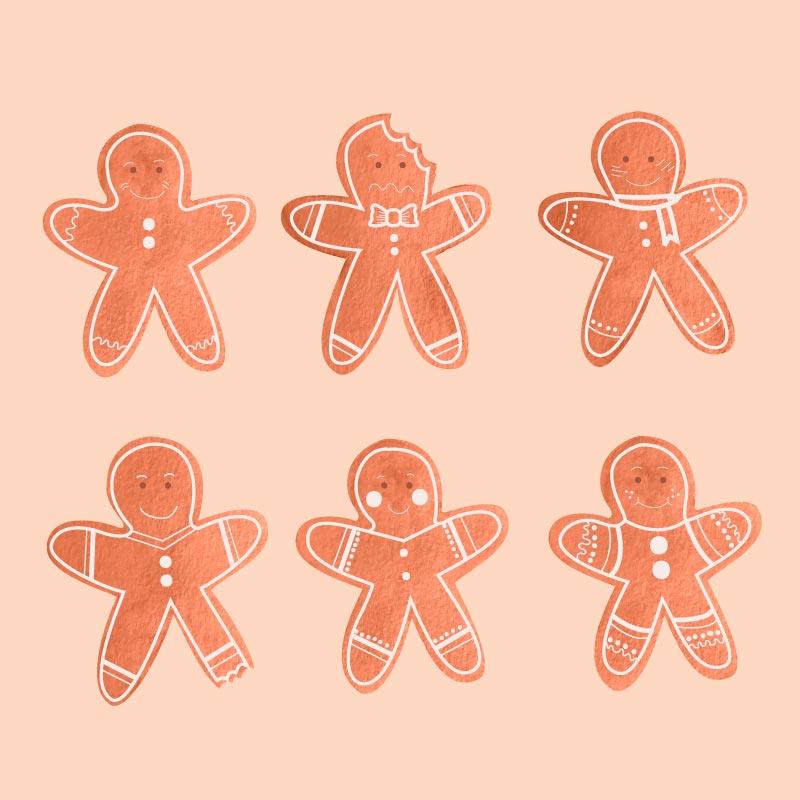六个可爱的姜饼人饼干矢量素材(AI/EPS/免扣PNG)