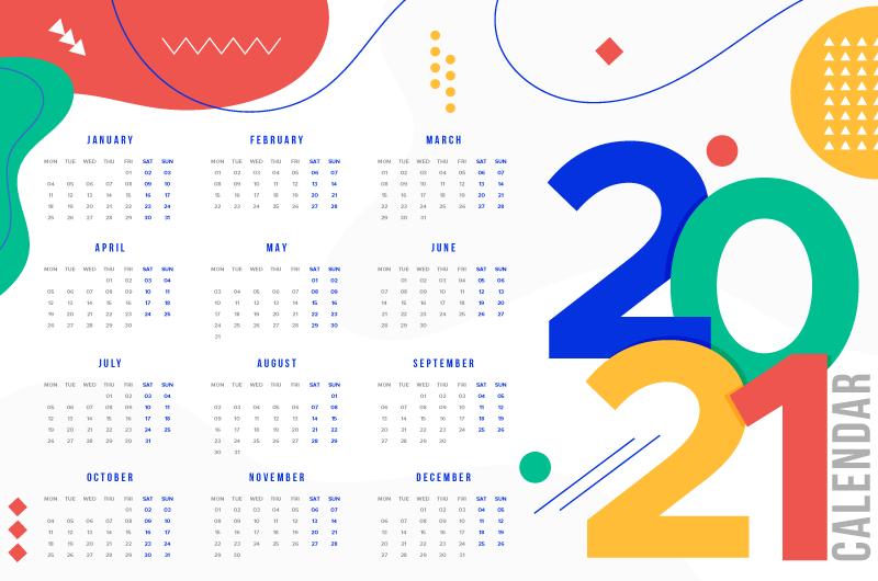多彩的2021年日历矢量素材(AI/EPS)