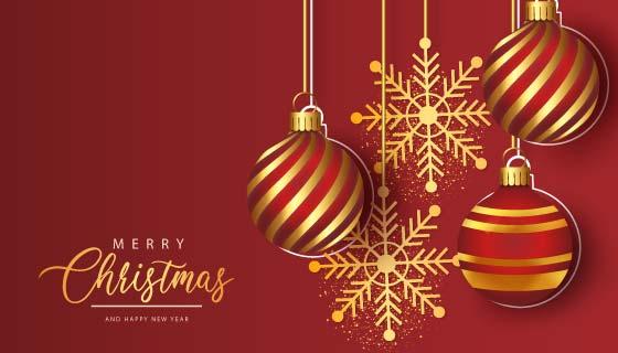 金色圣诞球和雪花设计圣诞节矢量素材(EPS)