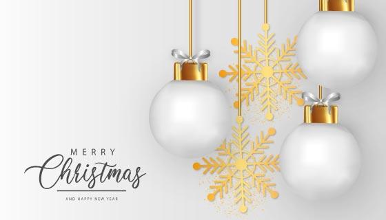 白色圣诞球和金色雪花设计圣诞节背景矢量素材(EPS)