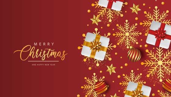 圣诞礼物和圣诞球设计圣诞节背景矢量素材(EPS)