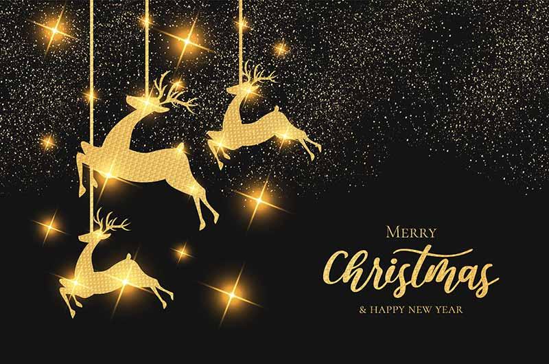 金色圣诞驯鹿设计圣诞节背景矢量素材(EPS)