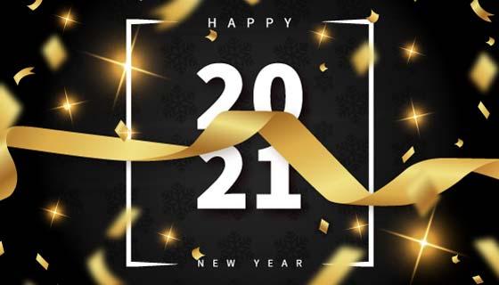 金色纸屑设计2021新年快乐矢量素材(EPS)