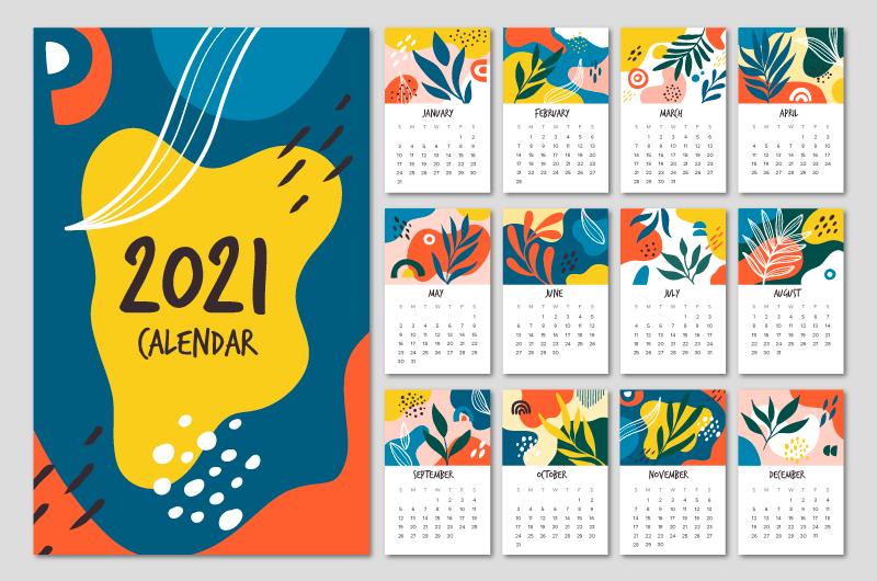 手绘植物设计2021年日历矢量素材(AI/EPS)