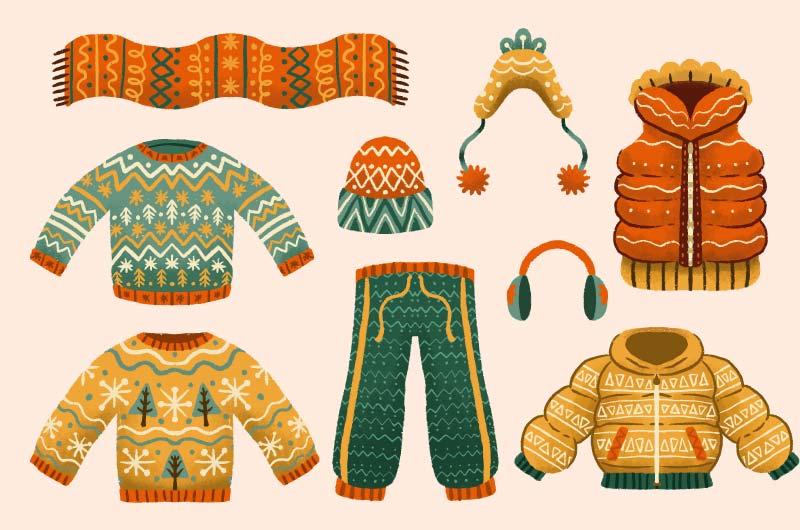 手绘风格的冬天衣物矢量素材(AI/EPS/免扣PNG)