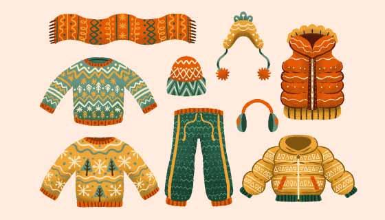 手绘风格的冬天衣物矢量素材(AI/EPS/PNG)