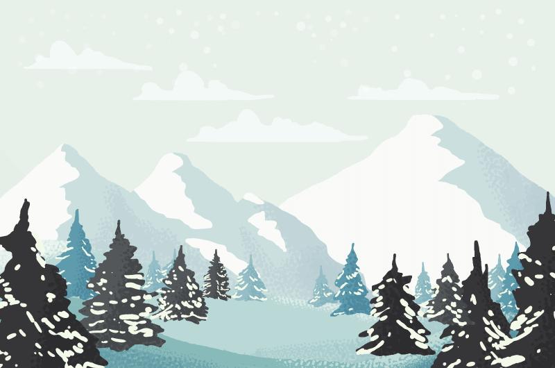 水彩风格的冬天景色矢量素材(AI/EPS)