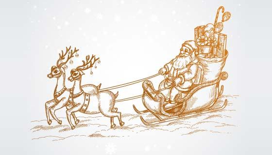 圣诞驯鹿拉着圣诞老人素描矢量素材(EPS)
