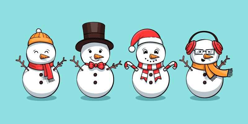 四个可爱的雪人矢量素材(AI/EPS/免扣PNG)