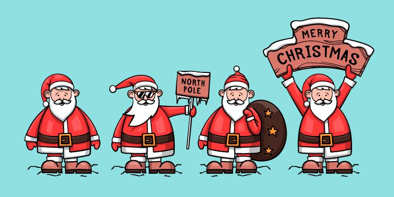 四位手绘风格的圣诞老人矢量素材(AI/EPS/免扣PNG)