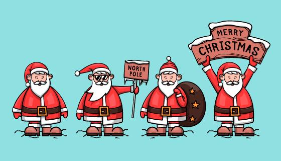 四位手绘风格的圣诞老人矢量素材(AI/EPS/PNG)