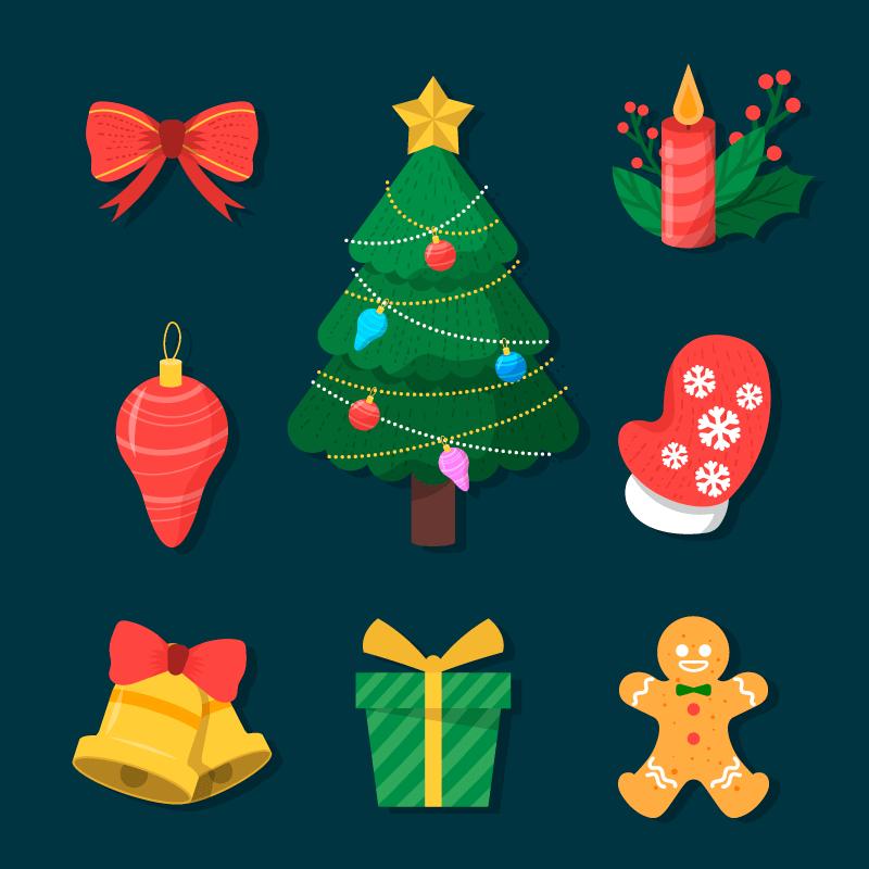 九个扁平风格的圣诞元素矢量素材(AI/EPS/免扣PNG)