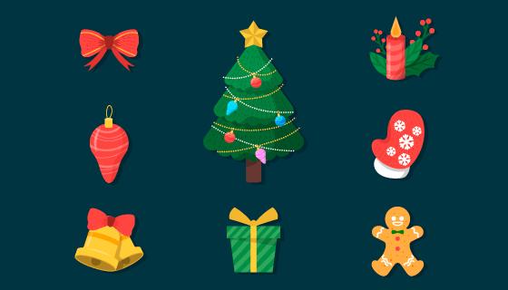 九个扁平风格的圣诞元素矢量素材(AI/EPS/PNG)