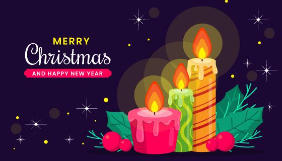 圣诞蜡烛设计圣诞节背景矢量素材(AI/EPS)