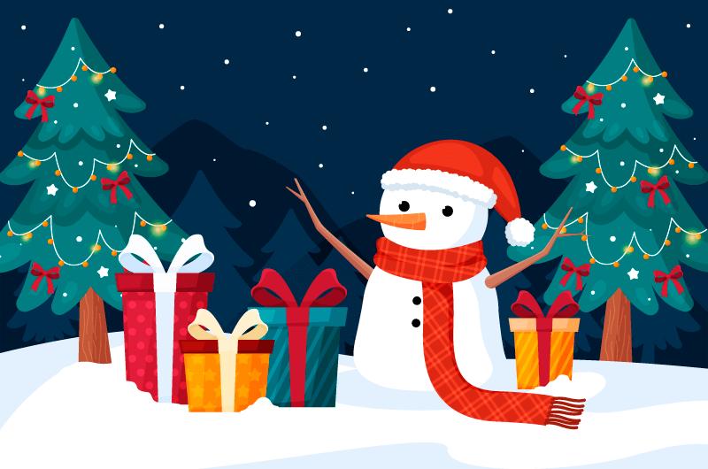 圣诞礼物和雪人设计圣诞节背景矢量素材(AI/EPS)