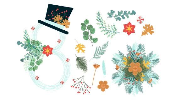 漂亮的圣诞节花朵装饰矢量素材(AI/EPS)
