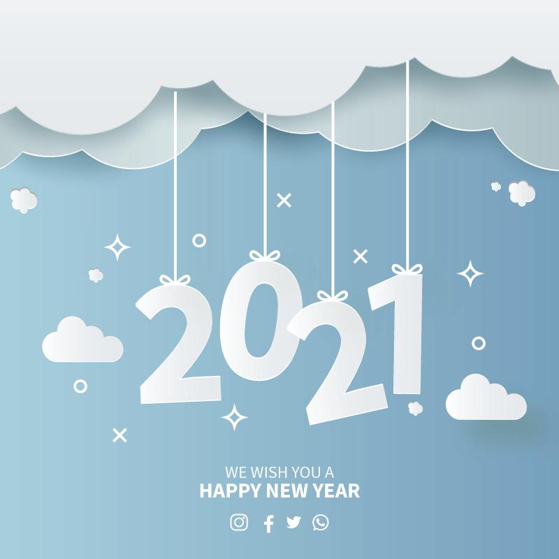 天空剪纸设计2021新年快乐矢量素材(EPS)