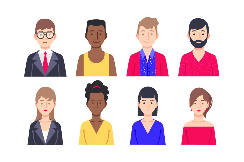 八个不同职业的人物头像矢量素材(AI/EPS)