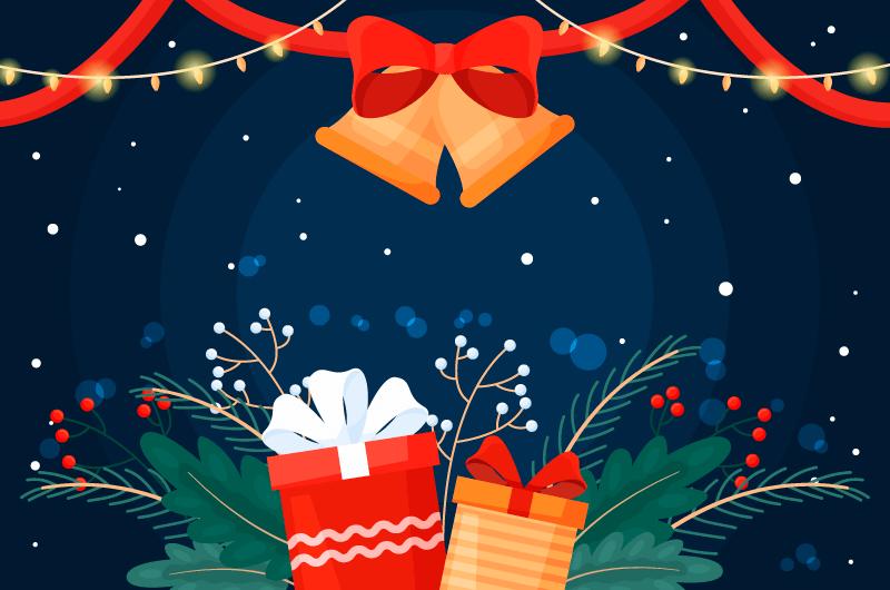 圣诞礼物和铃铛设计圣诞节背景矢量素材(AI/EPS)