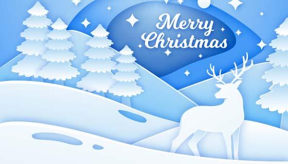 纸张风格圣诞节背景矢量素材(AI/EPS)