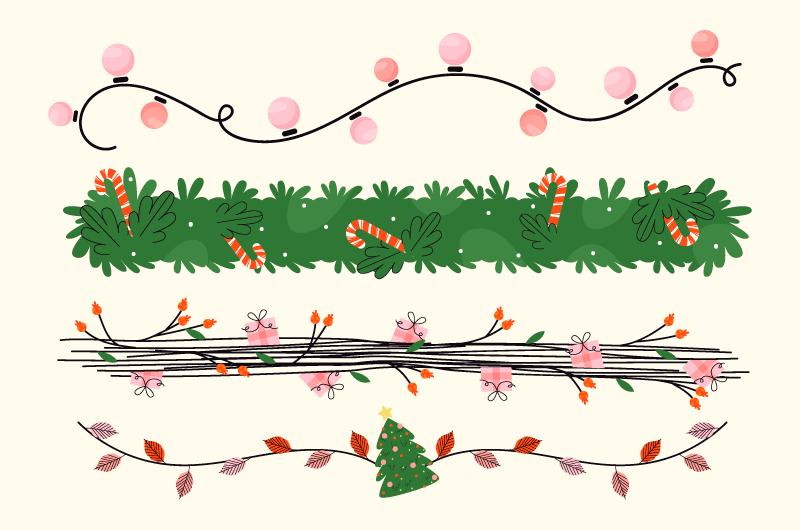 四条不同的圣诞装饰矢量素材(AI/EPS/免扣PNG)