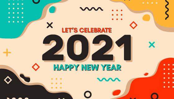 多彩抽象设计2021新年快乐背景矢量素材(AI/EPS)