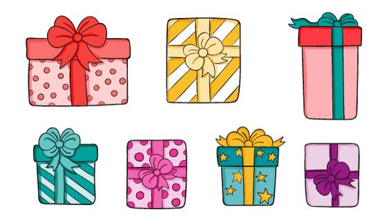七个手绘风格的礼物/礼盒矢量素材(AI/EPS)