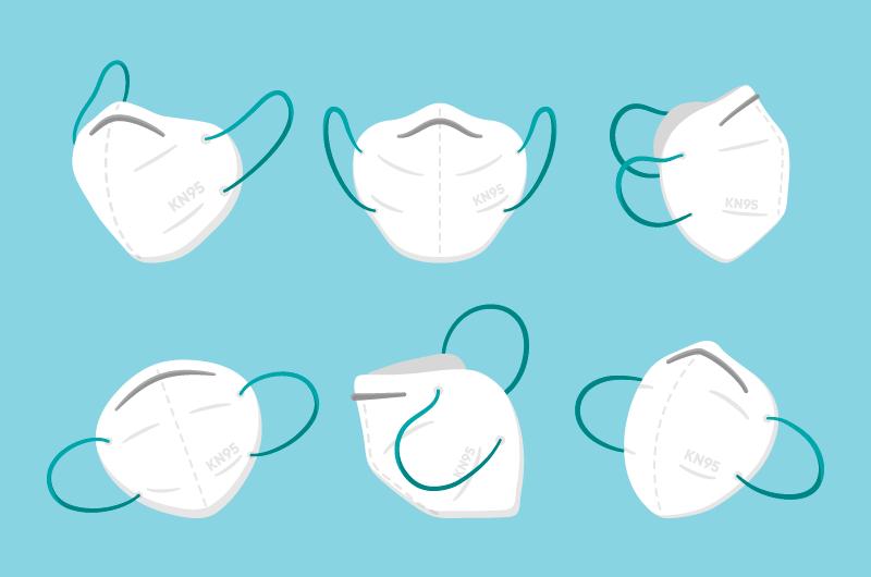 不同角度的KN95口罩矢量素材(AI/EPS/免扣PNG)