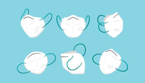 不同角度的KN95口罩矢量素材(AI/EPS/PNG)