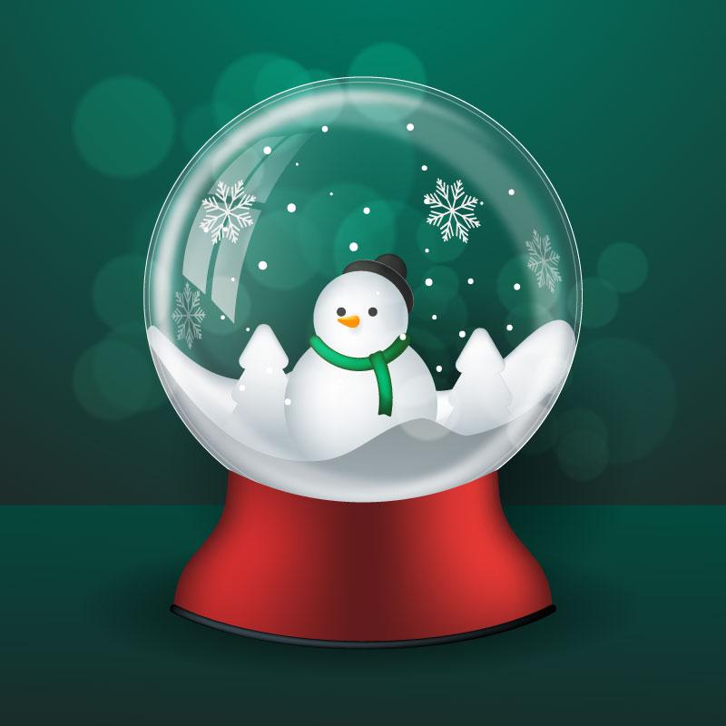 雪人圣诞水晶球矢量素材(AI/EPS)