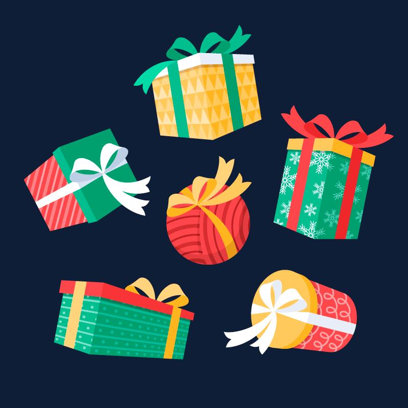 扁平风格的圣诞礼物矢量素材(AI/EPS/免扣PNG)