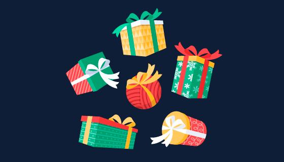 扁平风格的圣诞礼物矢量素材(AI/EPS/PNG)