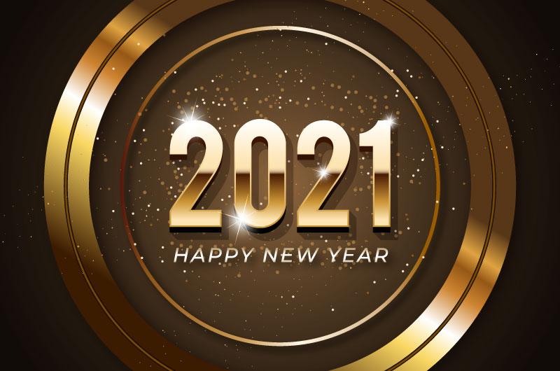 金色圆环设计2021新年快乐矢量素材(AI/EPS)