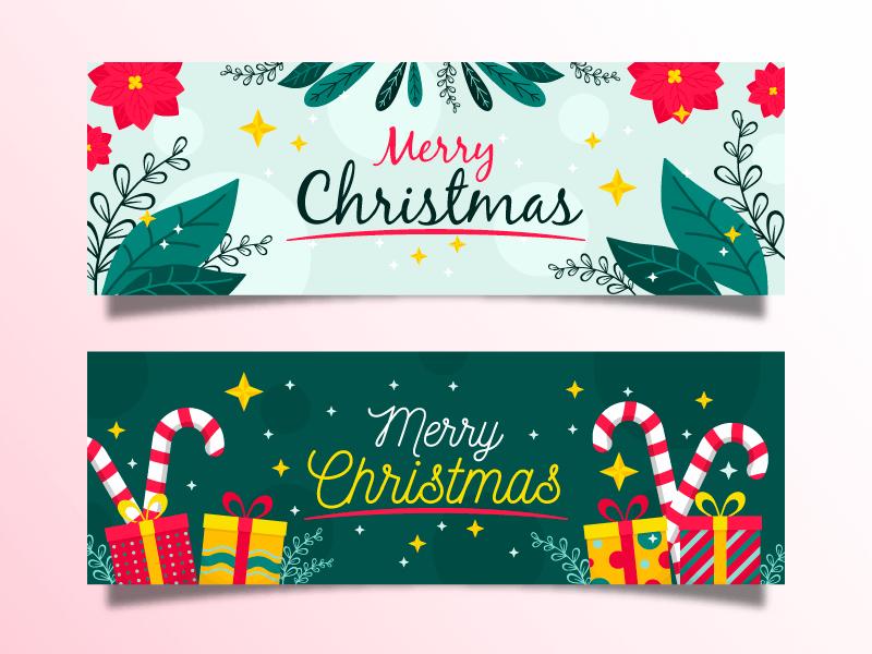 花卉和礼物设计圣诞节banner矢量素材(AI/EPS)