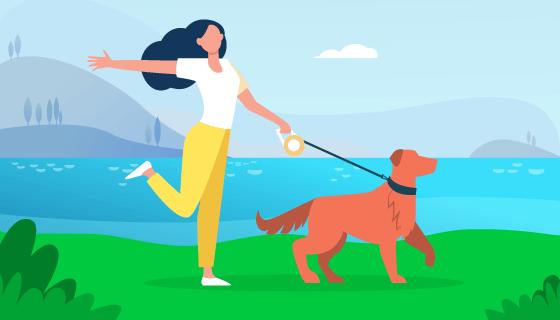 遛狗的女子插画矢量素材(EPS)