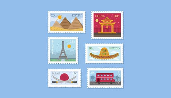 城市标志邮票矢量素材(EPS/AI)