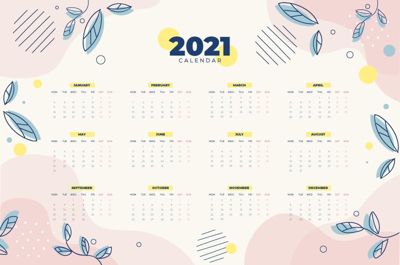 手绘叶子的漂亮2021年日历矢量素材(AI/EPS)