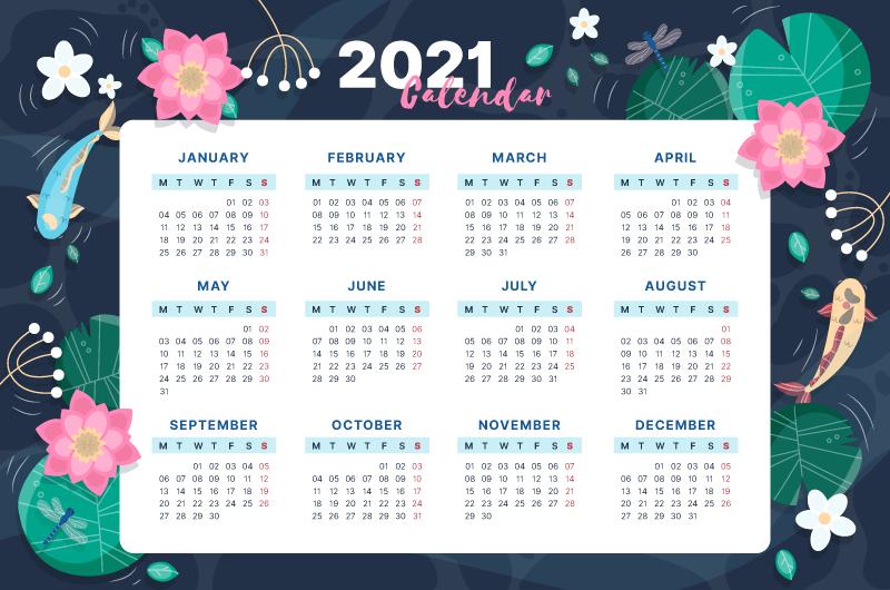 漂亮荷塘设计2021年日历矢量素材(AI/EPS)